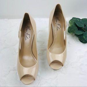 Marc fisher Nude peep toe platform pumps heels 9M